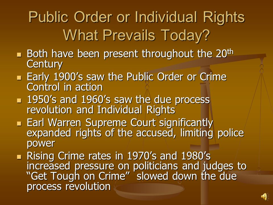 Public Order or Individual Rights What Prevails Today