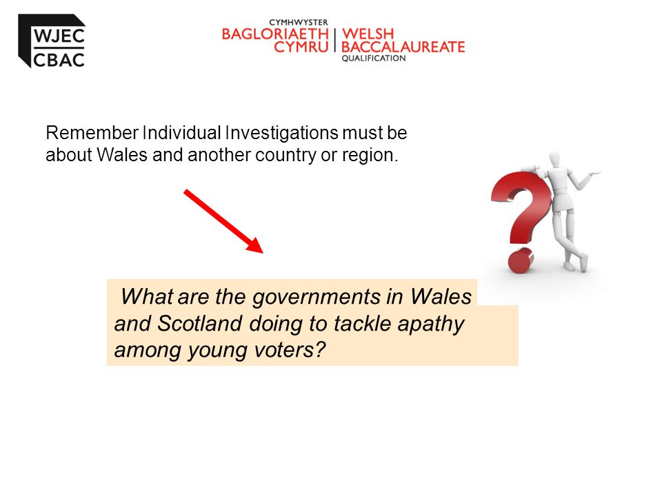 Remember Individual Investigations must be about Wales and another country or region.