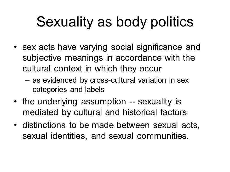 Sexuality as body politics