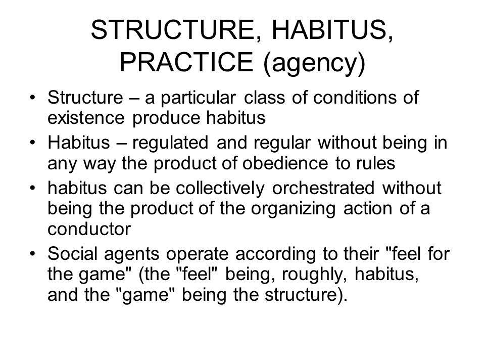 STRUCTURE, HABITUS, PRACTICE (agency)