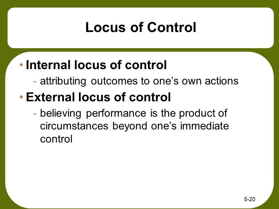 Locus of Control Internal locus of control External locus of control