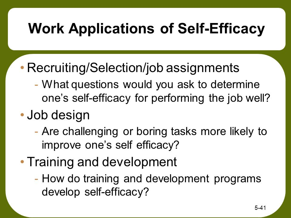 Work Applications of Self-Efficacy