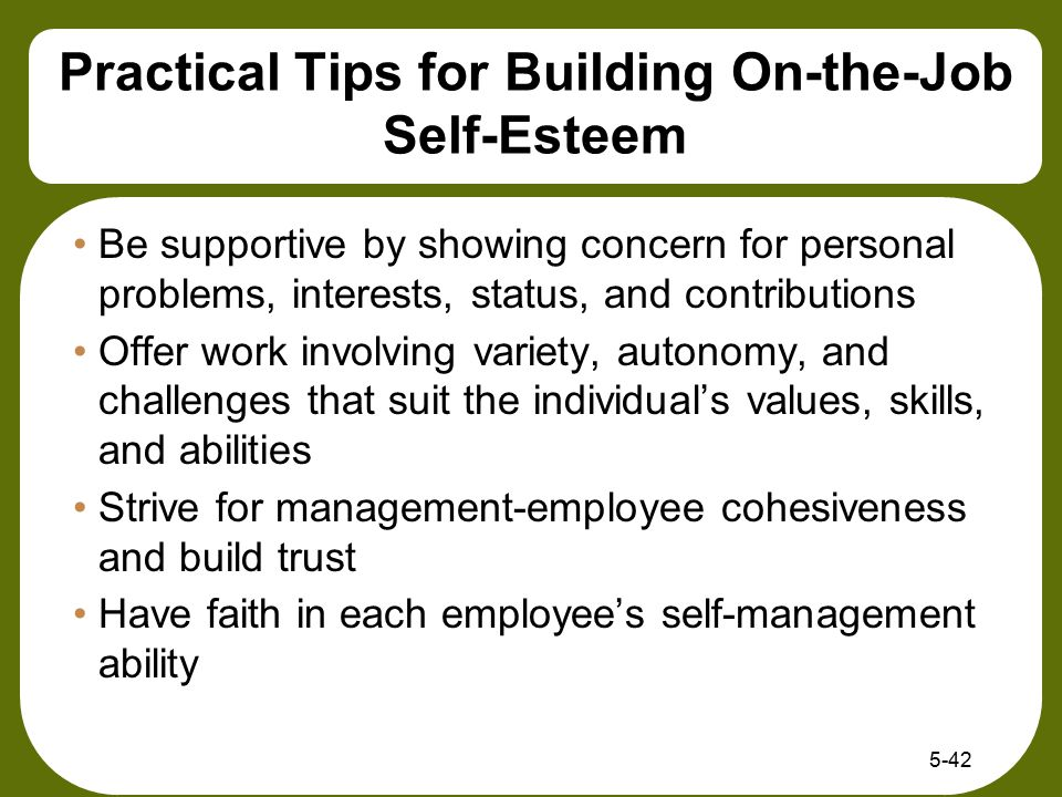 Practical Tips for Building On-the-Job Self-Esteem