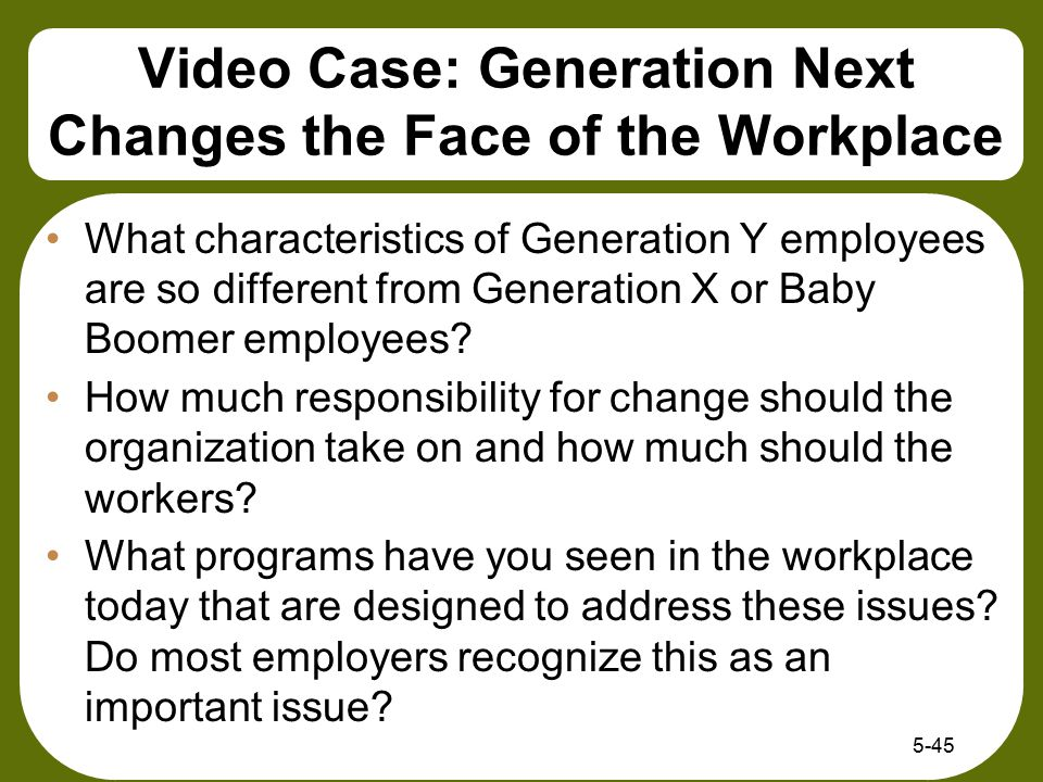 Video Case: Generation Next Changes the Face of the Workplace