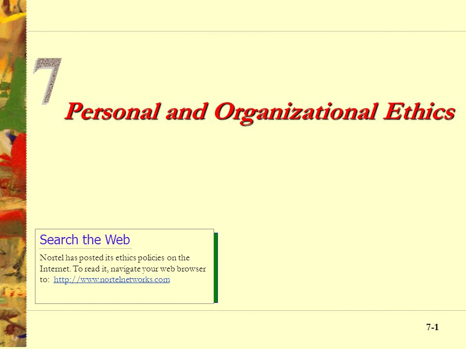 Personal and Organizational Ethics