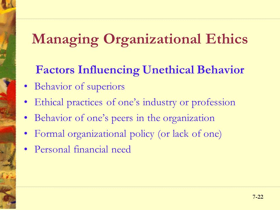 Managing Organizational Ethics