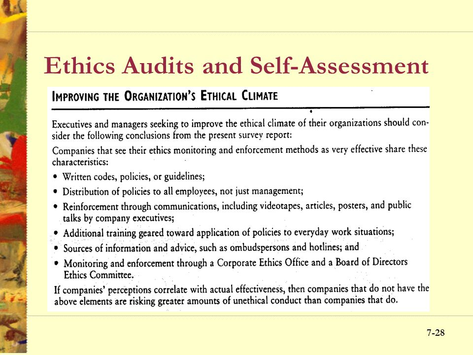 Ethics Audits and Self-Assessment