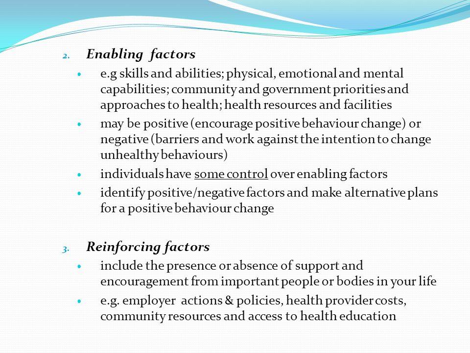 Enabling factors Reinforcing factors