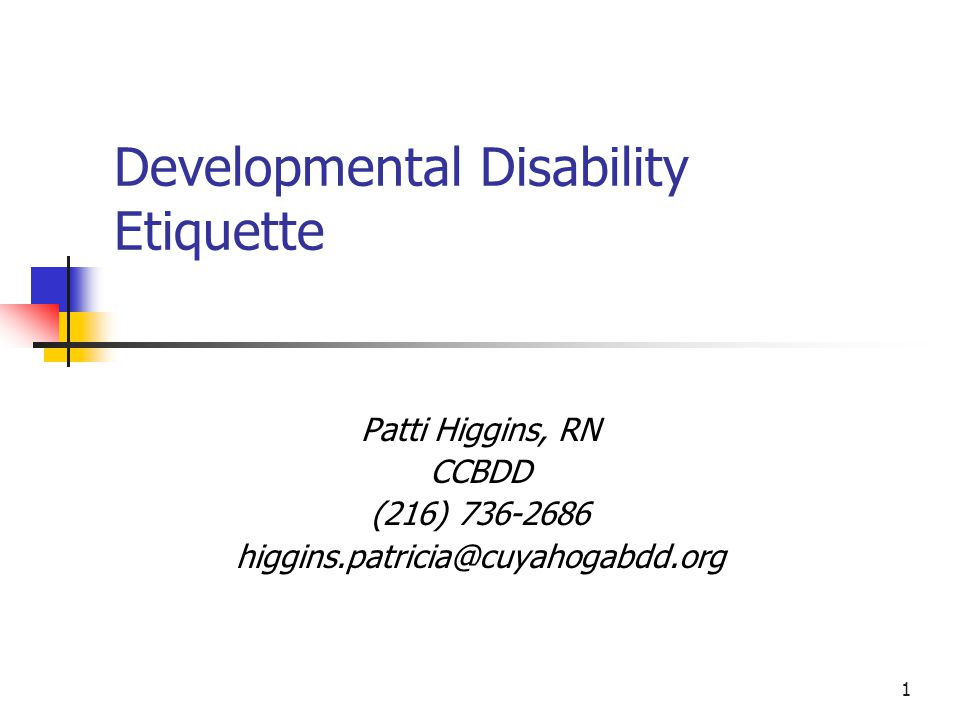 Developmental Disability Etiquette