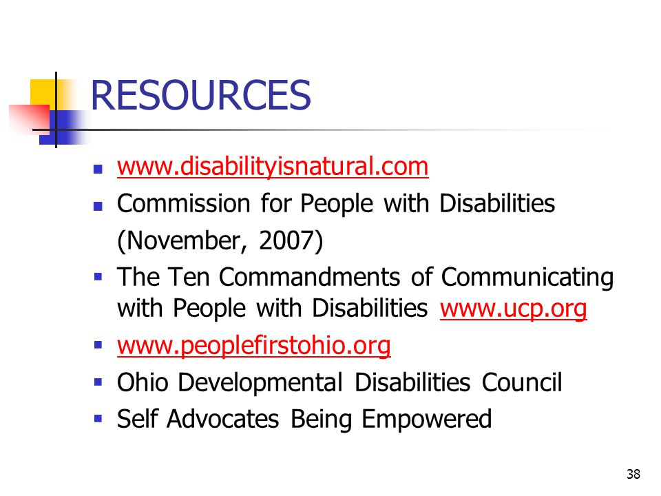 RESOURCES www.disabilityisnatural.com