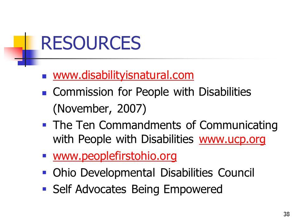 RESOURCES www.disabilityisnatural.com