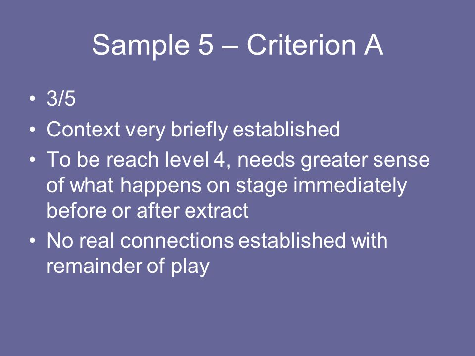 Sample 5 – Criterion A 3/5 Context very briefly established
