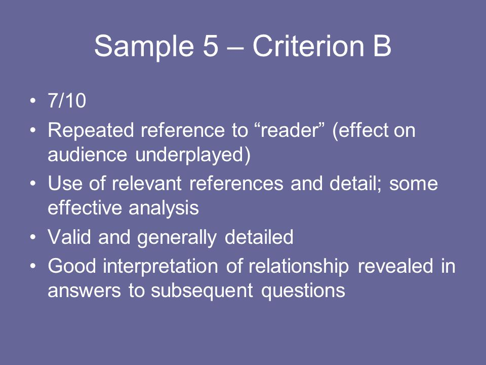 Sample 5 – Criterion B 7/10. Repeated reference to reader (effect on audience underplayed)