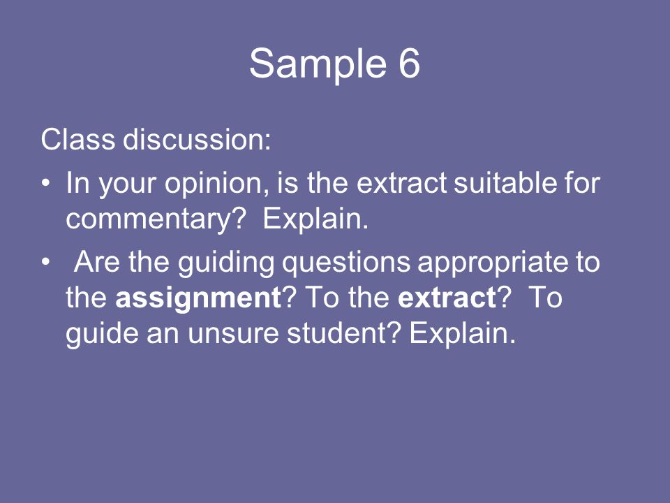 Sample 6 Class discussion: