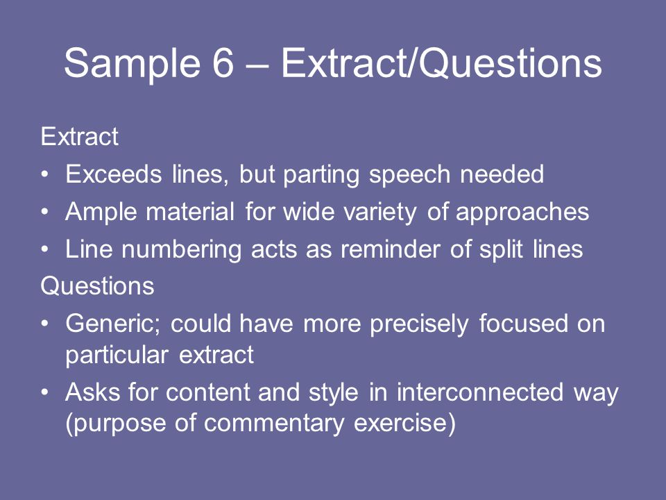 Sample 6 – Extract/Questions