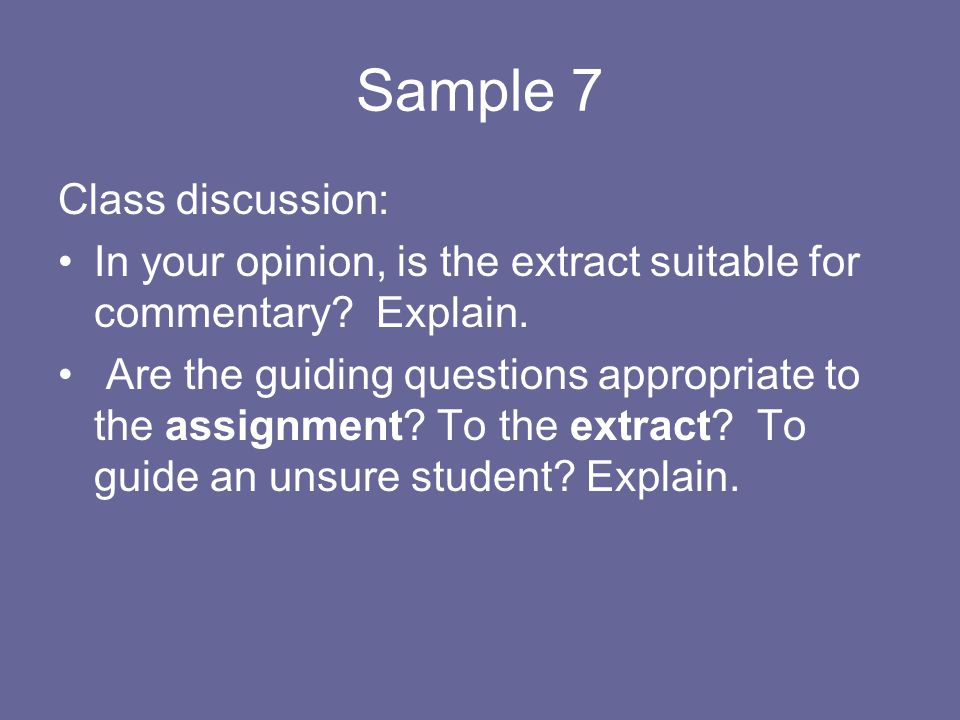 Sample 7 Class discussion: