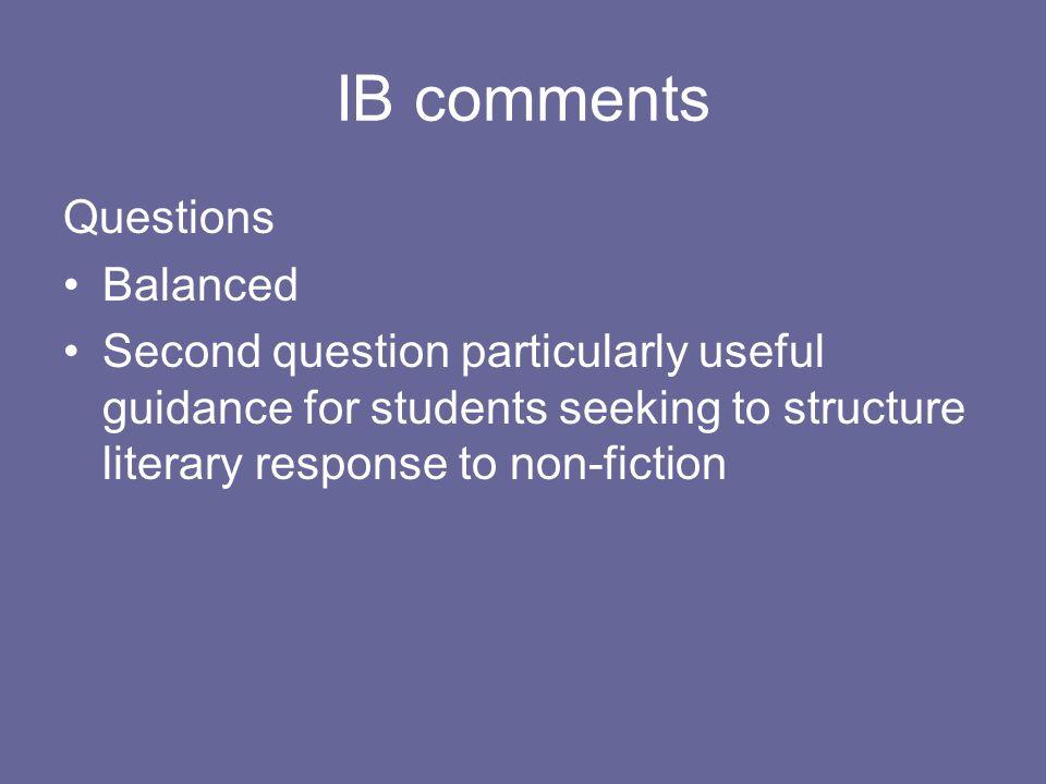 IB comments Questions Balanced