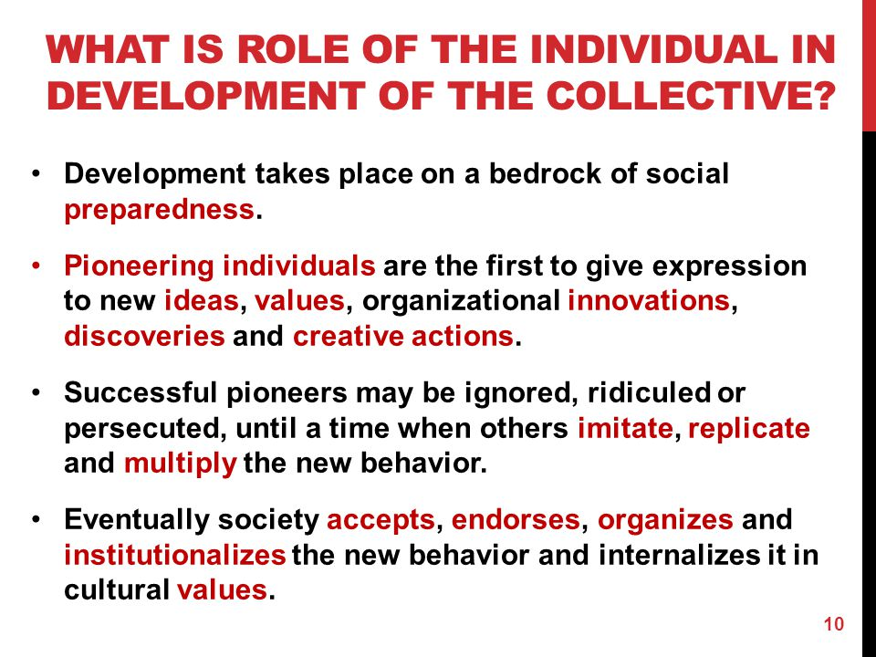 What is Role of the individual in development of the collective