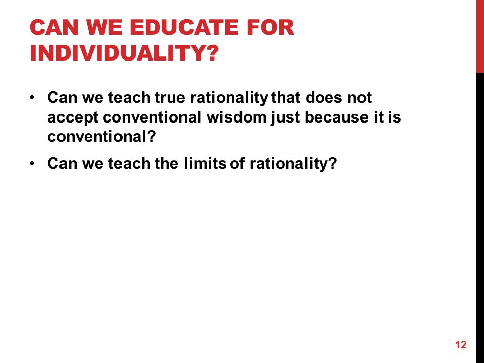 Can we Educate for Individuality