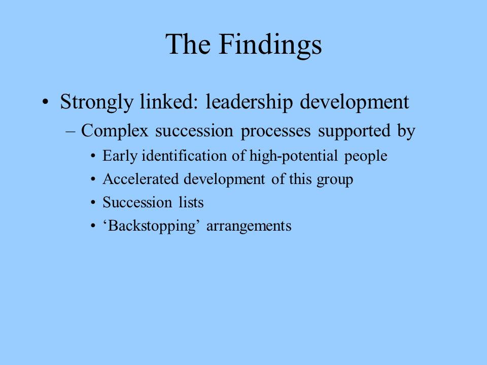 The Findings Strongly linked: leadership development