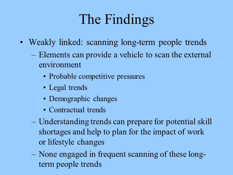 The Findings Weakly linked: scanning long-term people trends
