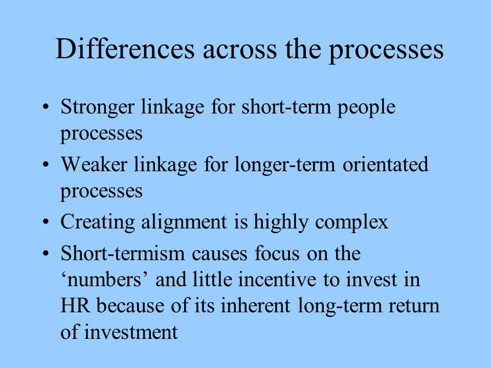 Differences across the processes