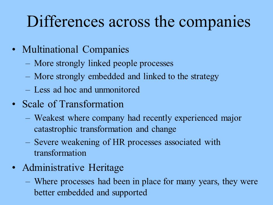Differences across the companies
