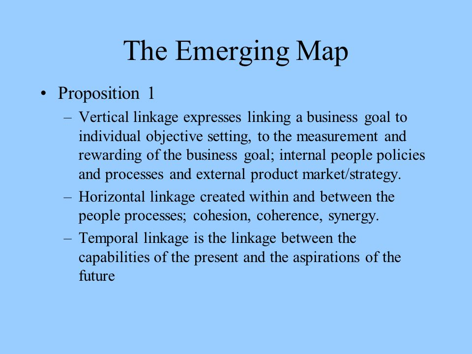 The Emerging Map Proposition 1
