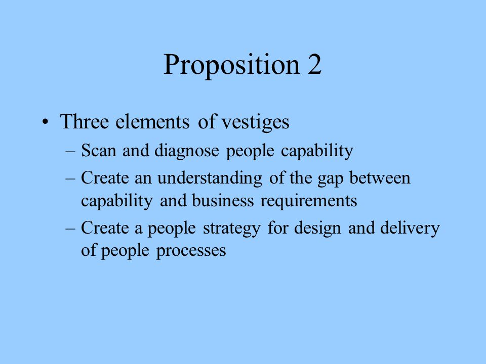 Proposition 2 Three elements of vestiges