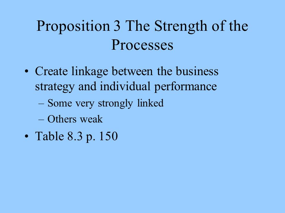 Proposition 3 The Strength of the Processes