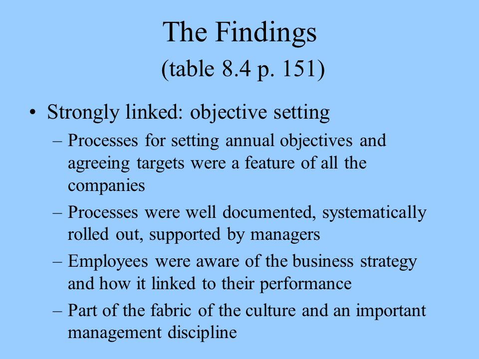The Findings (table 8.4 p. 151) Strongly linked: objective setting