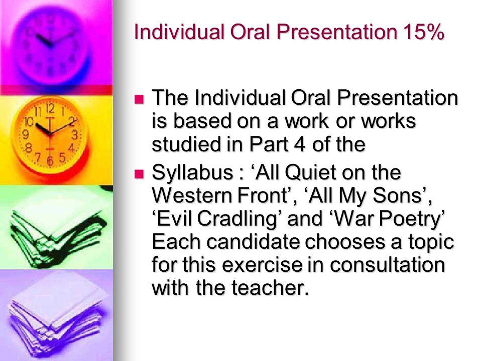Individual Oral Presentation 15%