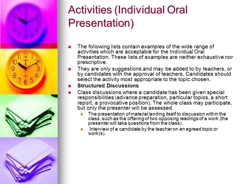 Activities (Individual Oral Presentation)