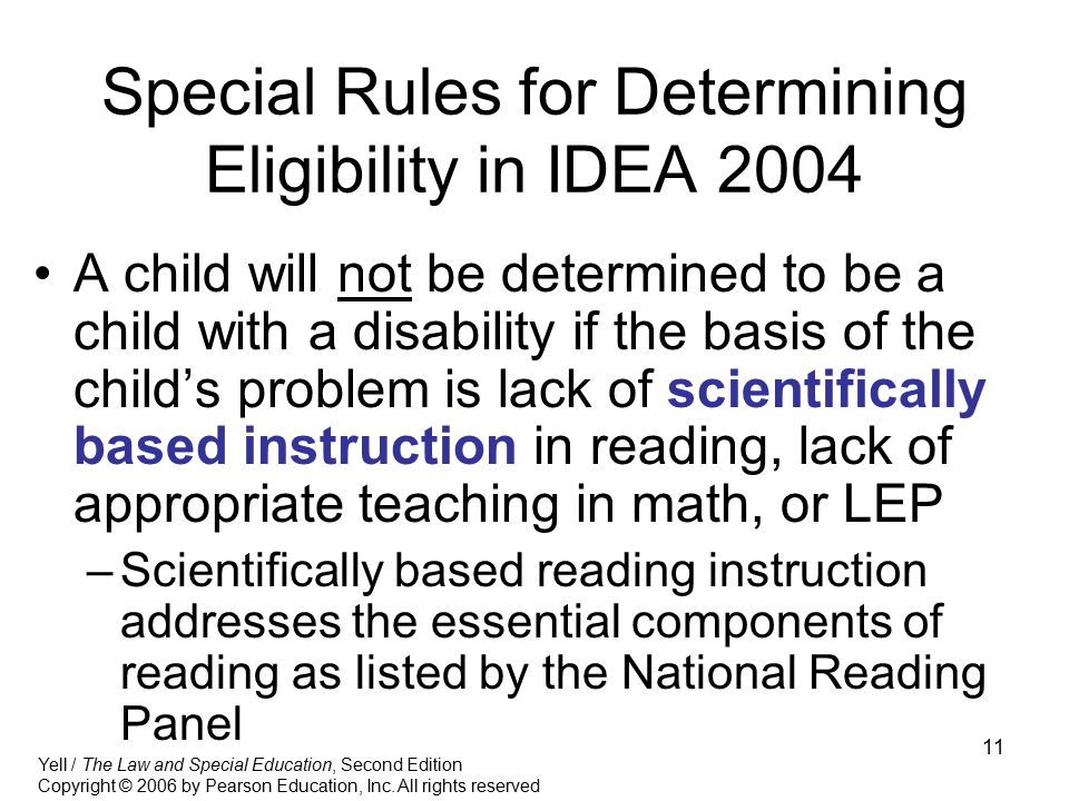 Special Rules for Determining Eligibility in IDEA 2004