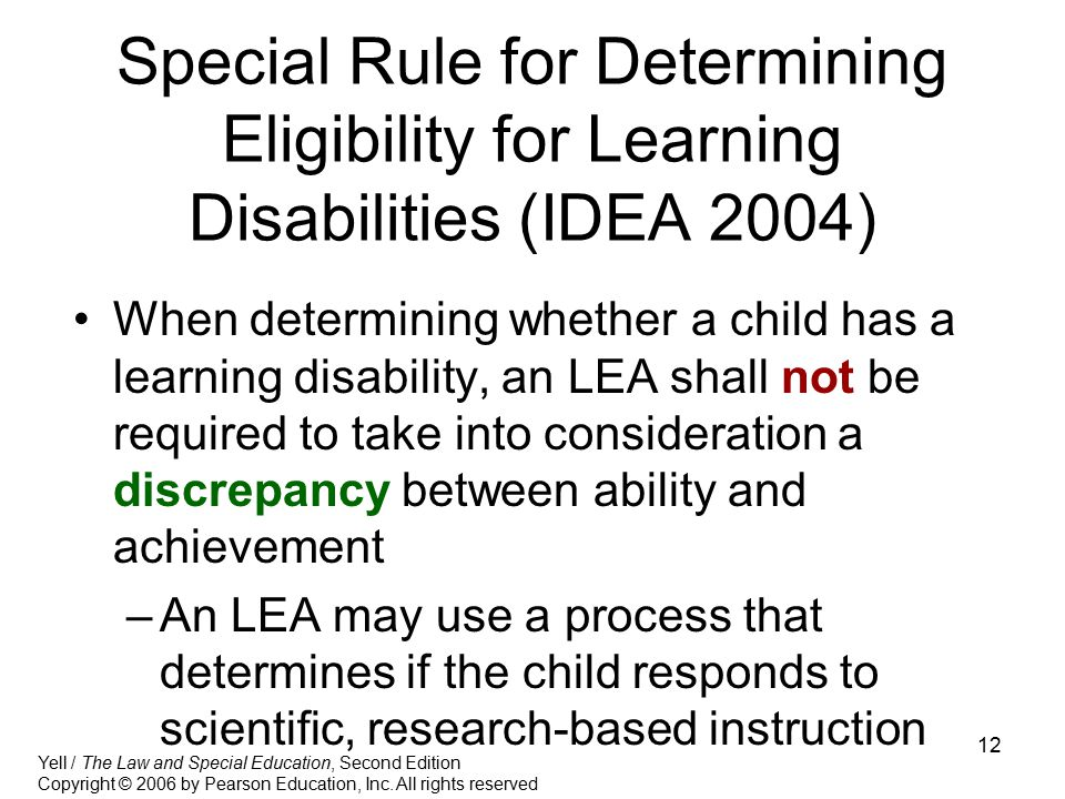 Special Rule for Determining Eligibility for Learning Disabilities (IDEA 2004)