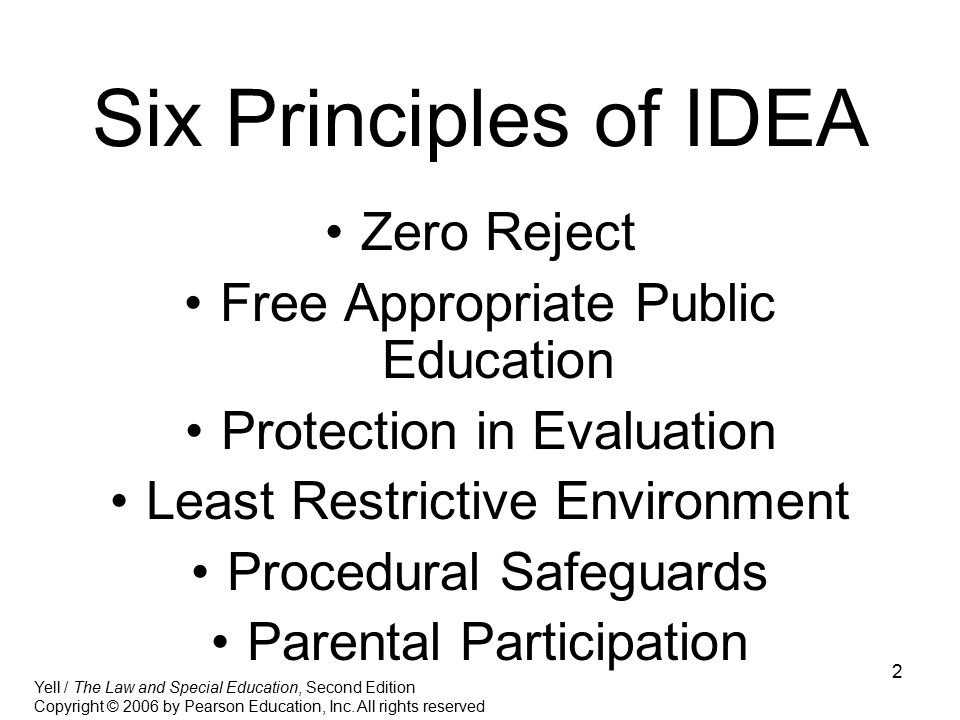 Six Principles of IDEA Zero Reject Free Appropriate Public Education