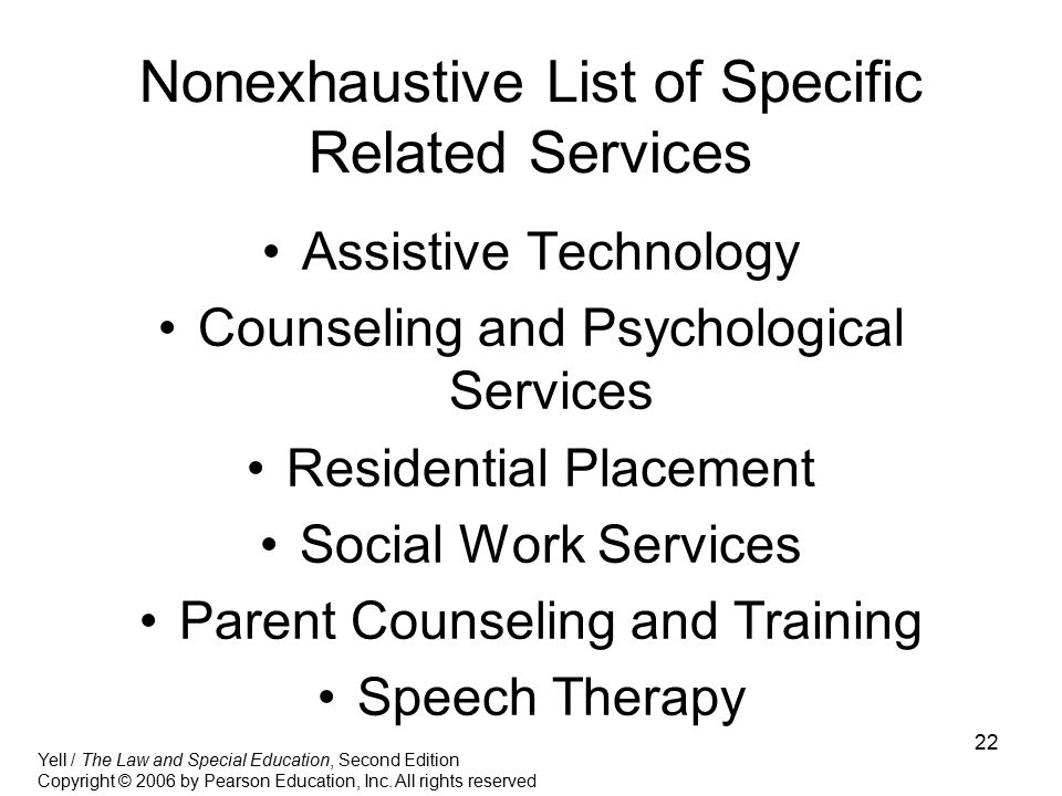 Nonexhaustive List of Specific Related Services