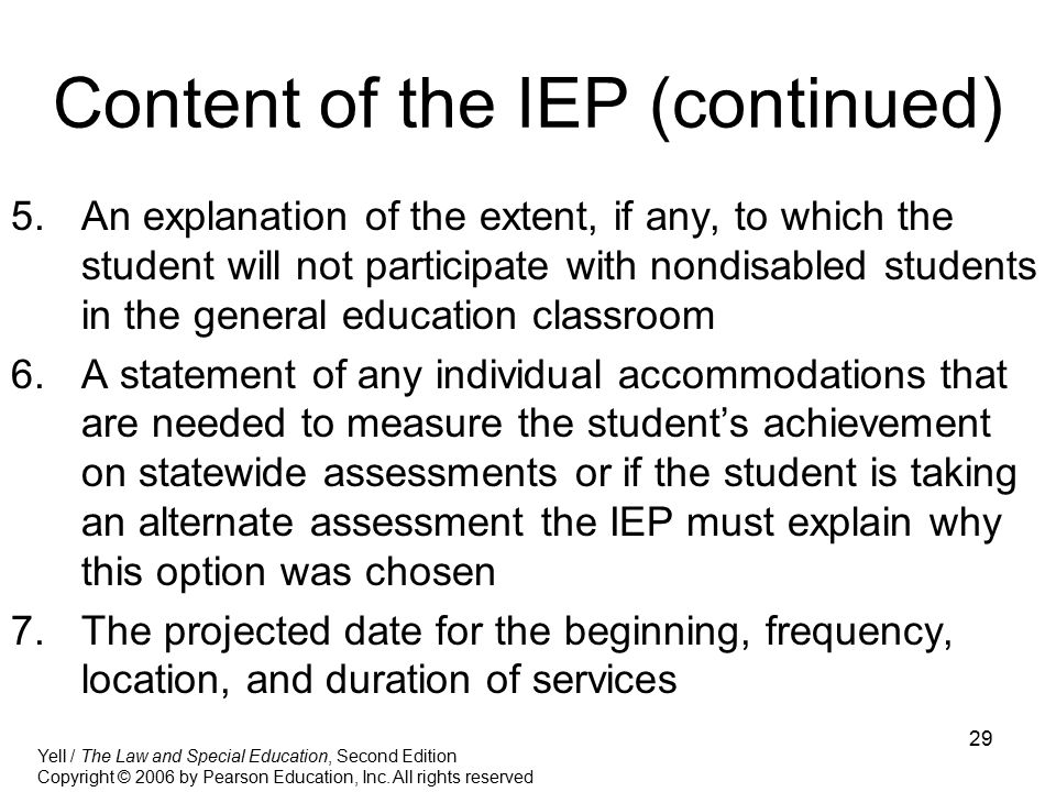 Content of the IEP (continued)