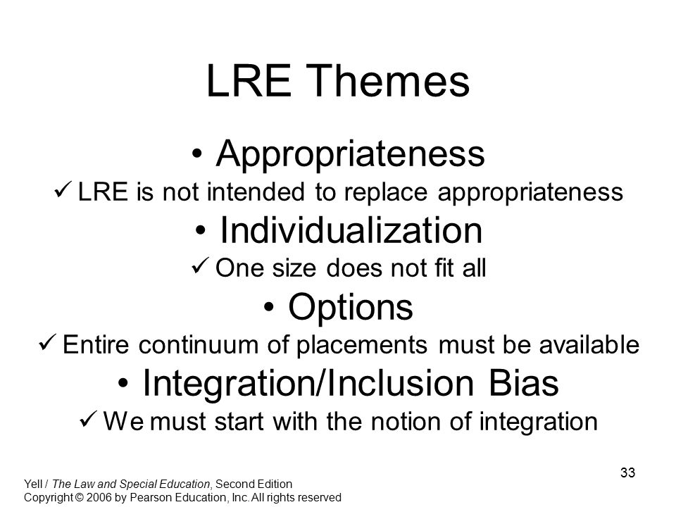 LRE Themes Appropriateness Individualization Options