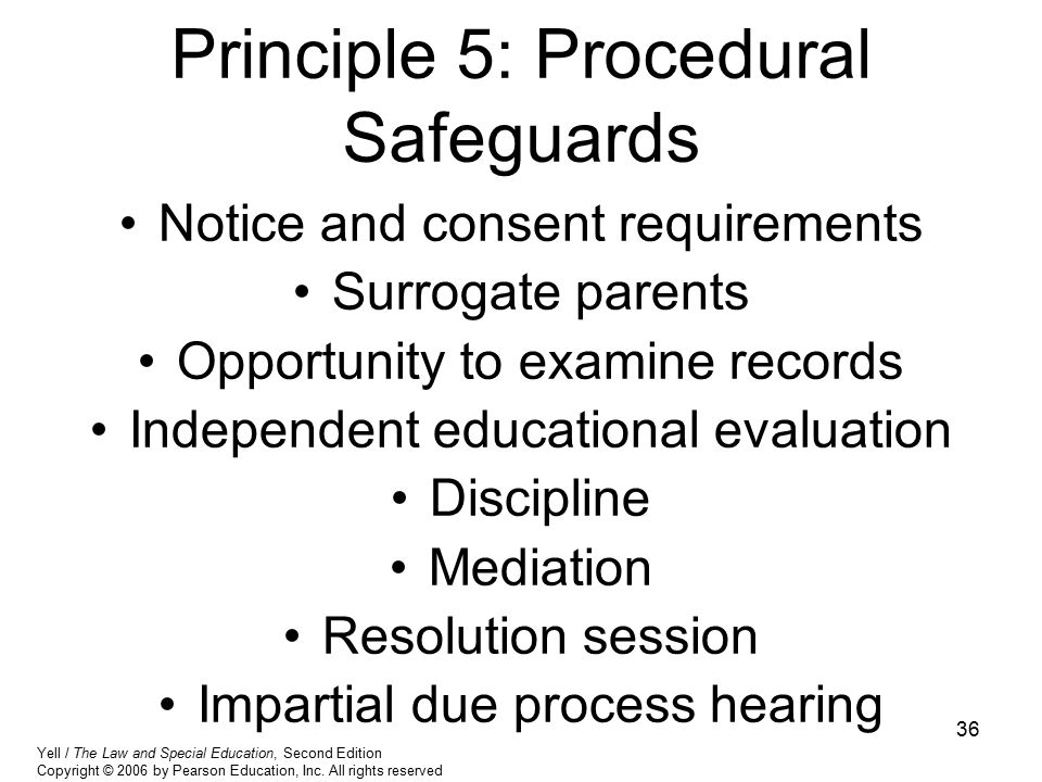 Principle 5: Procedural Safeguards