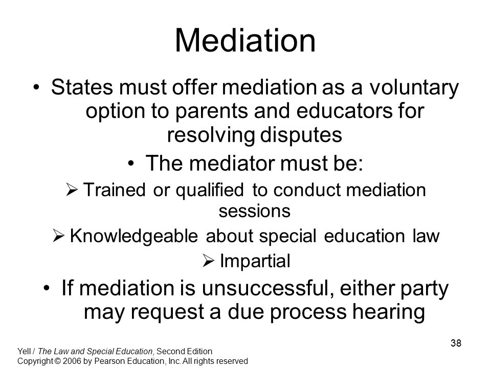 Mediation States must offer mediation as a voluntary option to parents and educators for resolving disputes.