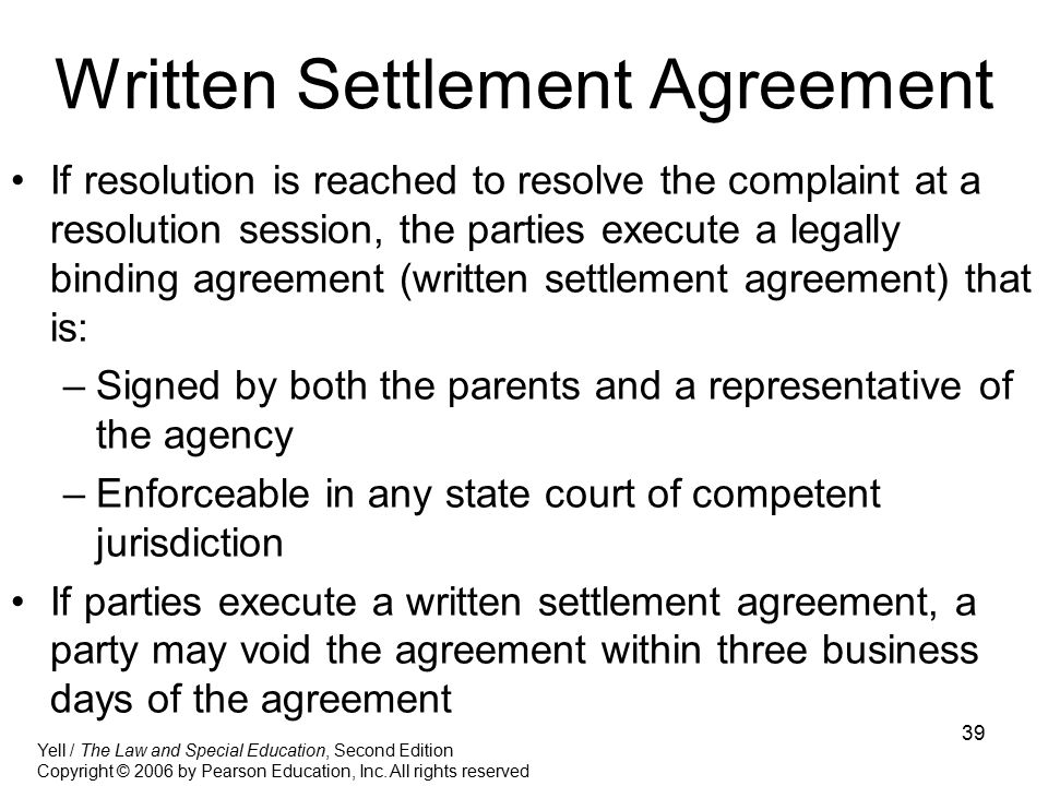 Written Settlement Agreement