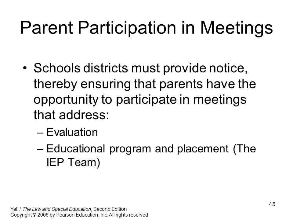 Parent Participation in Meetings