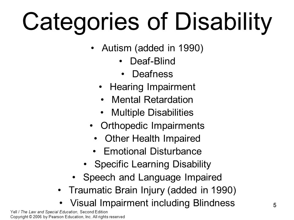 Categories of Disability