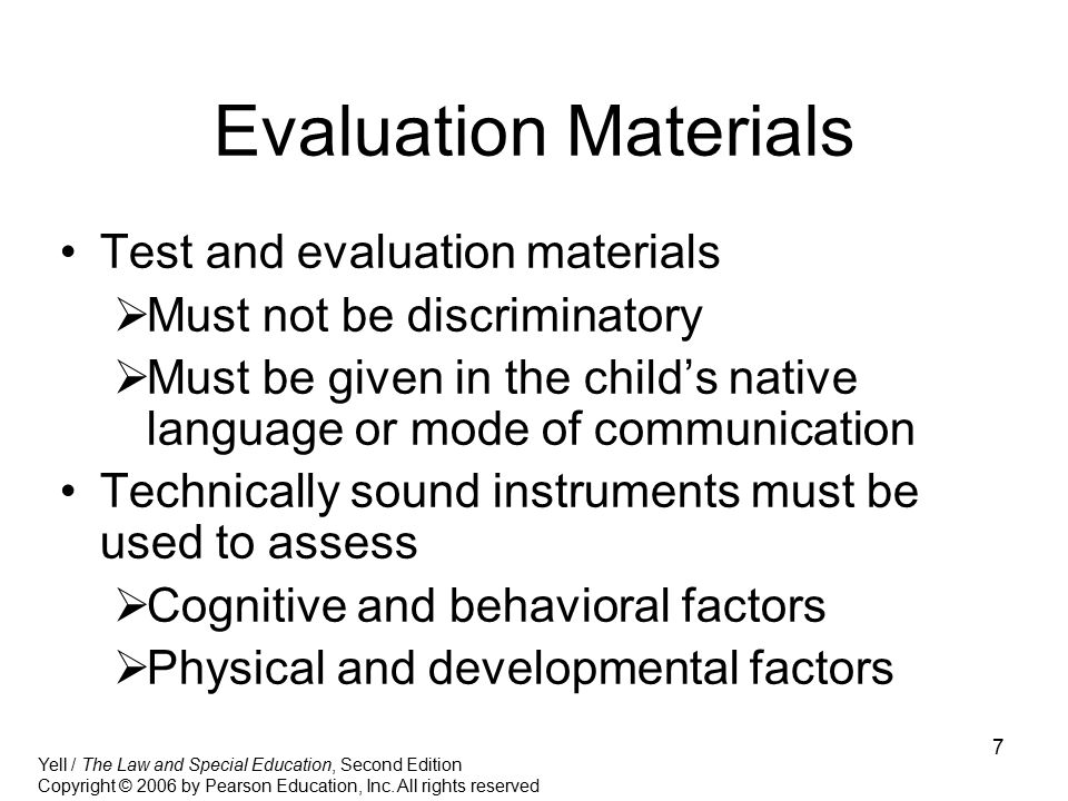 Evaluation Materials Test and evaluation materials