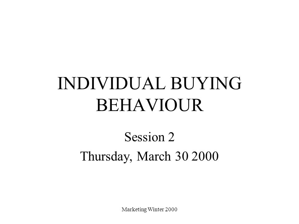 INDIVIDUAL BUYING BEHAVIOUR