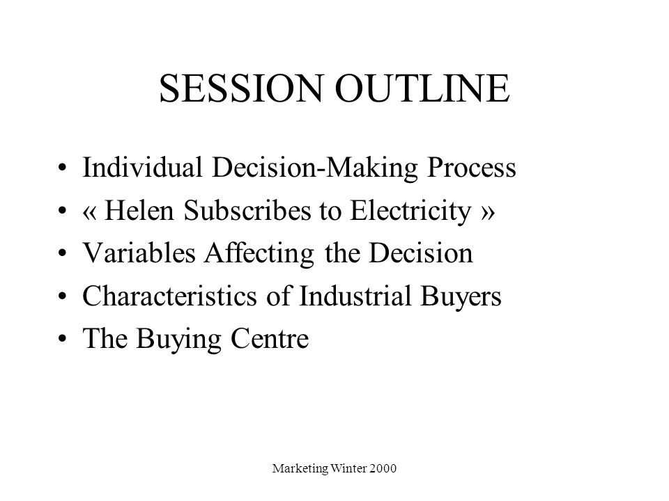SESSION OUTLINE Individual Decision-Making Process
