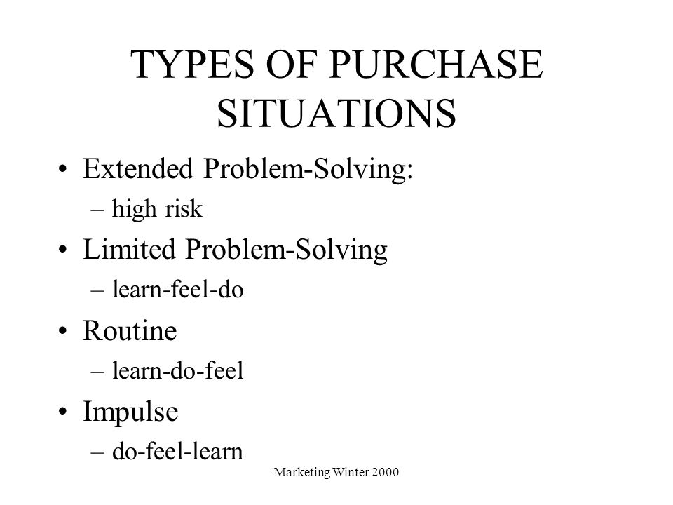 TYPES OF PURCHASE SITUATIONS