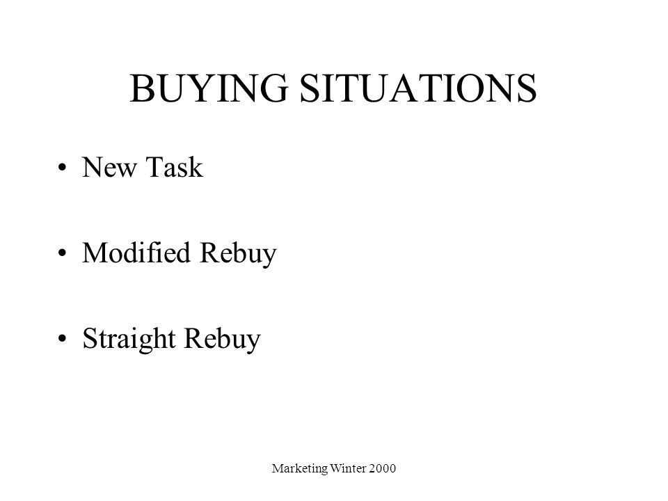 BUYING SITUATIONS New Task Modified Rebuy Straight Rebuy