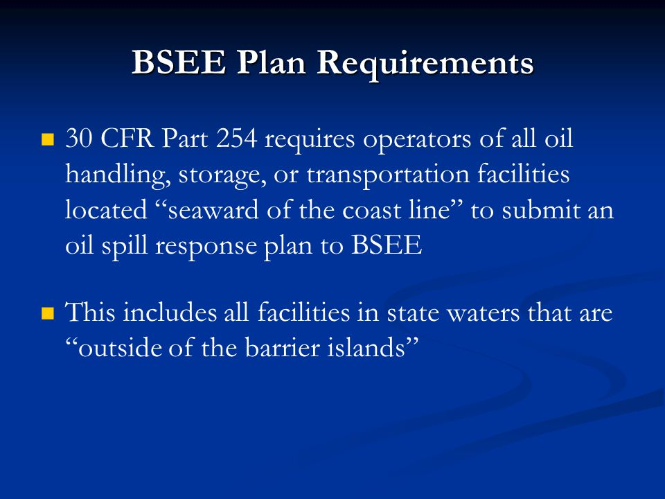 BSEE Plan Requirements